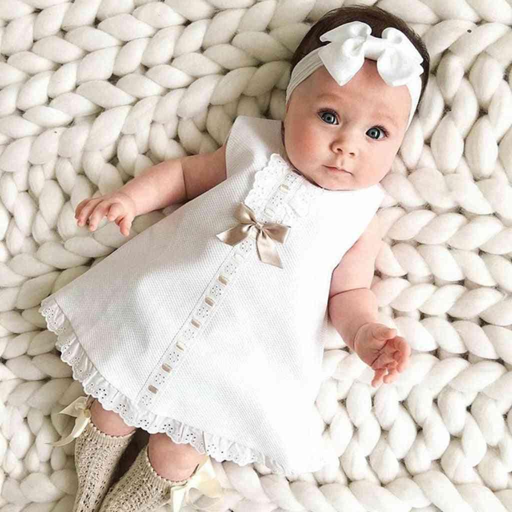 Baby Girl Clothes Bow Lace Hem Sleeveless Headband Two-piece Princess Dress Cute