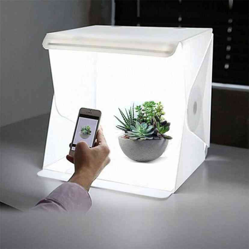 Mini Photography Studio Box With 2 Eva Backgrounds, Integrated Led Panel And Usb Cable