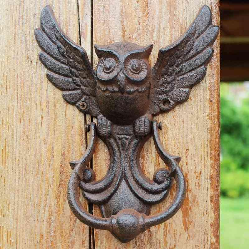 American Style Iron Knocker Crafts Vintage Owl Door Knocking- Antique Handle