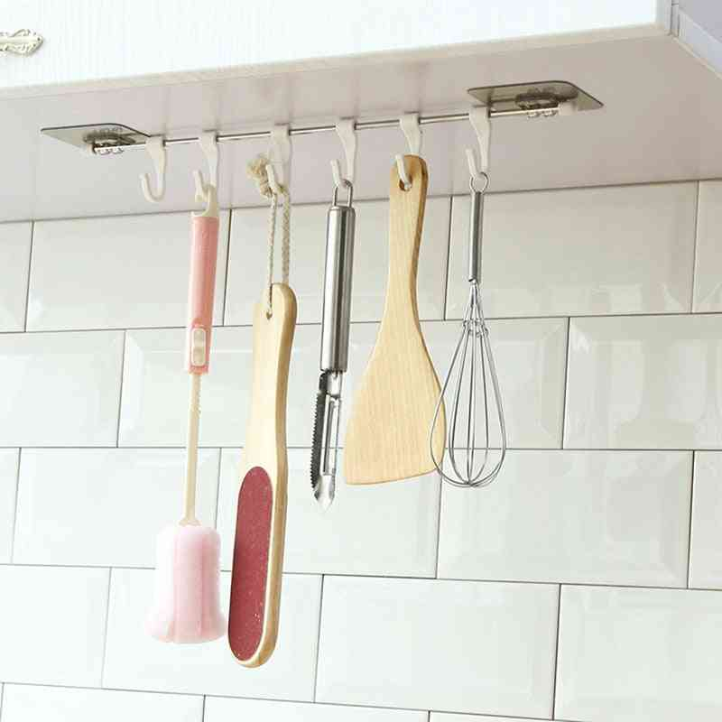 6 Rows Kitchen Hooks, Stainless Steel Rack Storage Pantry Chest Tools
