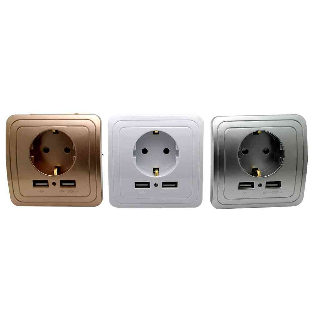 Smart Dual Usb Port, 16a Eu Standard Electrical Socket-power Outlet Panel