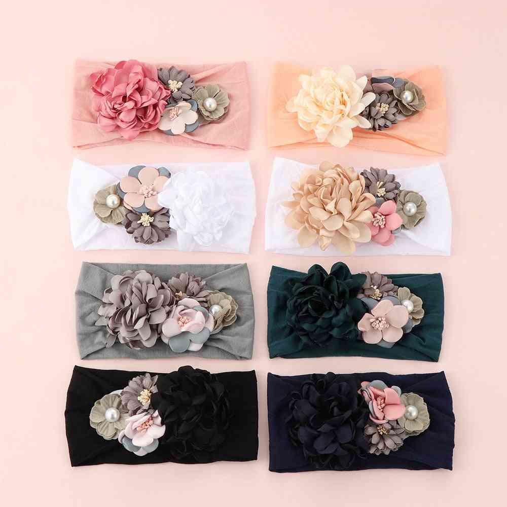 Girls Baby Bow Hairband, Elastic Headband Cute 3d Flower Stretch Wrap Princess Hair Accessories