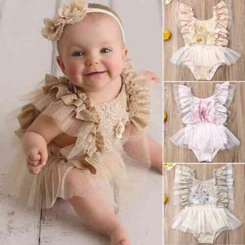 Newborn Baby Girl Lace Summer Bodysuit