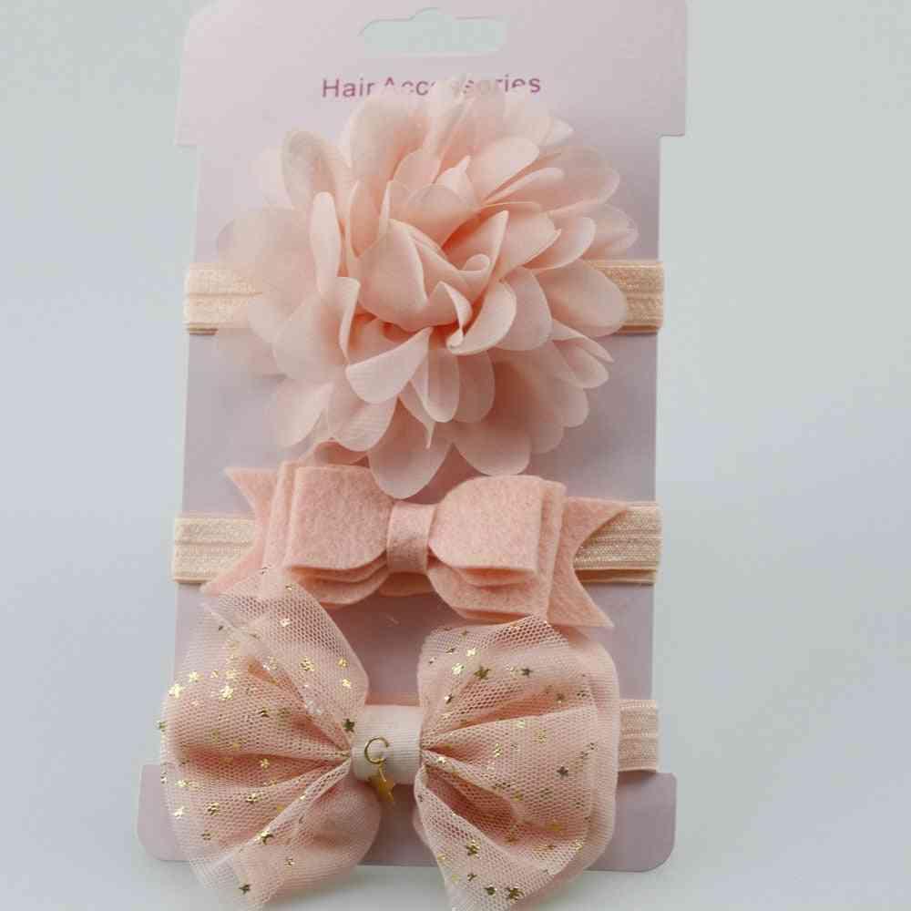 Elastic Flower And Bowknot Design Headband Set For Newborn Babies