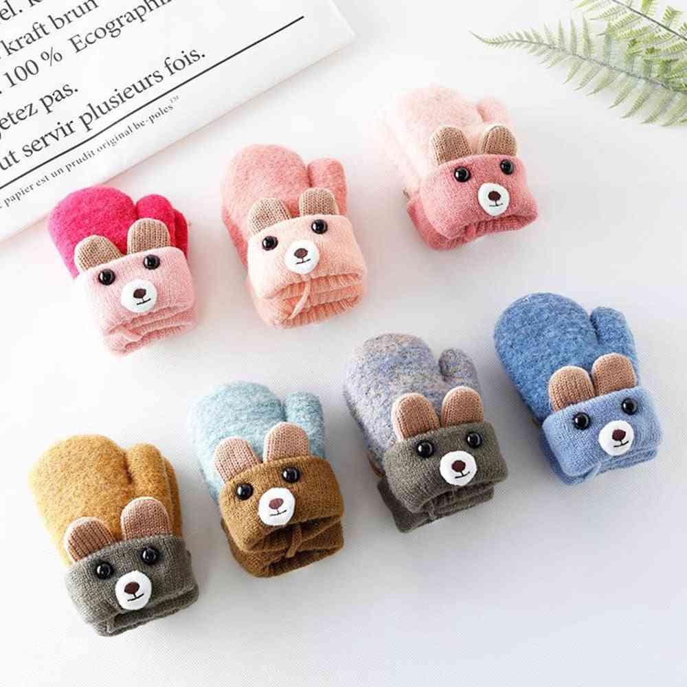 Cute Cartoon Bear Baby Gloves, Wool Knitted Infants Mittens