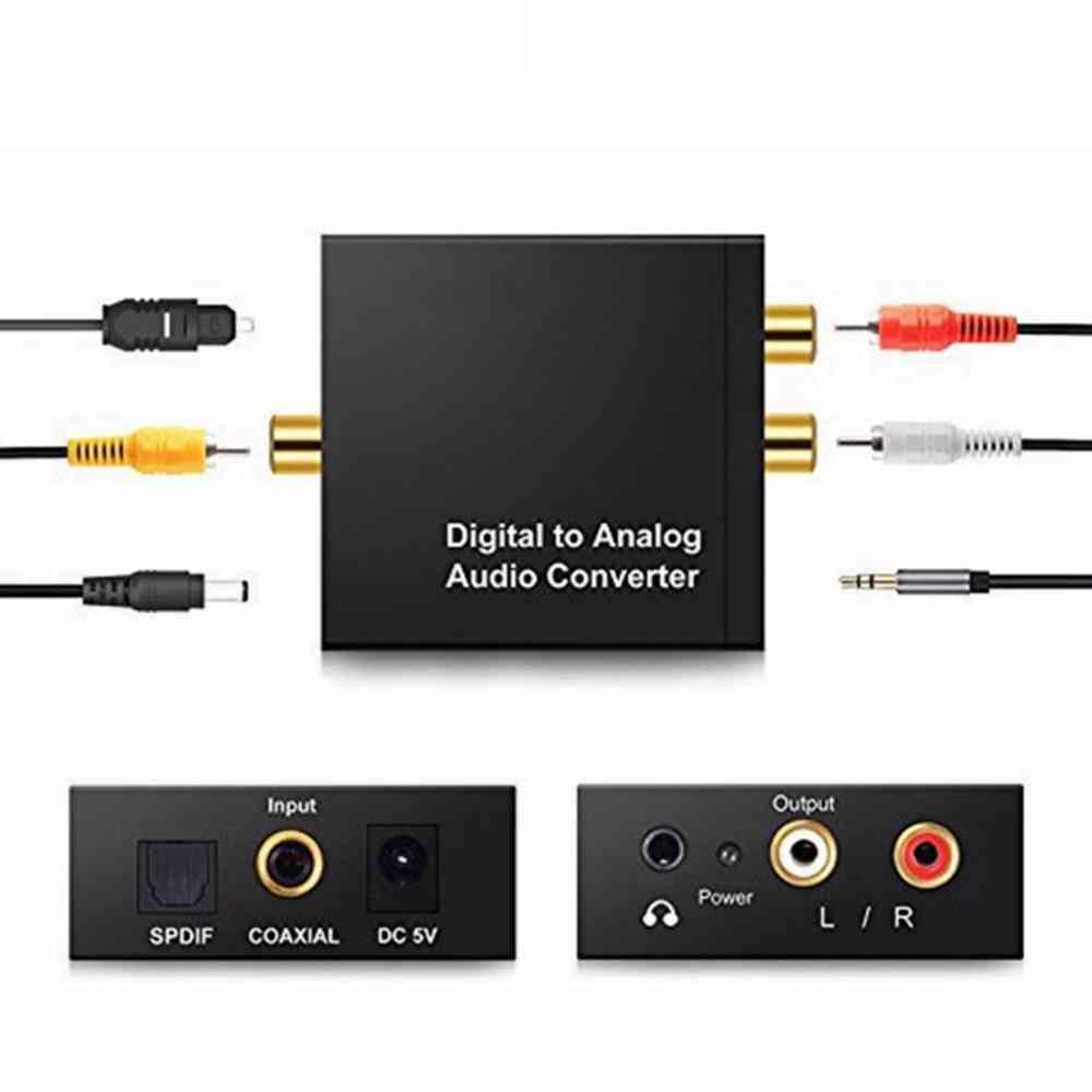 3.5mm Rca Digital To Alog Audio Converter Amplifier - Coaxial Usb Dac
