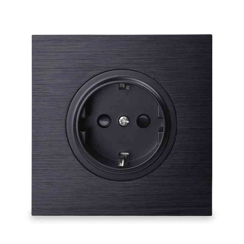 Aluminum Brushed Panel Wall Power Socket Outlet Grounded