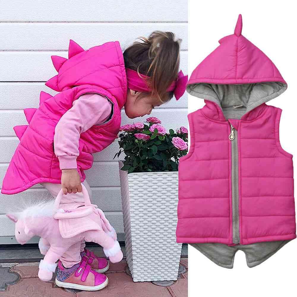 Baby Girl / Boy Dinosaur Vest Down Hooded, Zipper Jacket - Winter Thick Warm Outwear