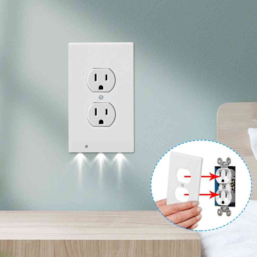 Durable Convenient Outlet Cover Wall Plate With Led Night Lights
