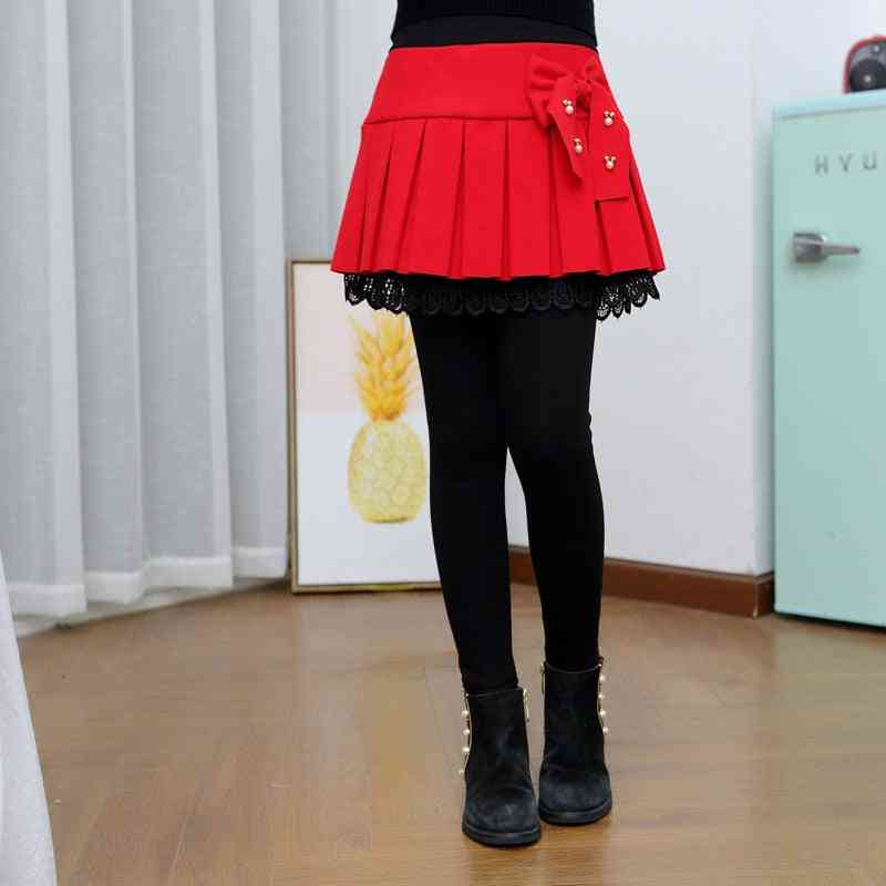 Winter Warm Skirts Pants, Patchwork Bowknot Princess Leggings