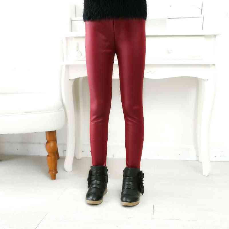 Children's Pants, Leggings Thin Models, Girls Pu Leather Elastic Clothes