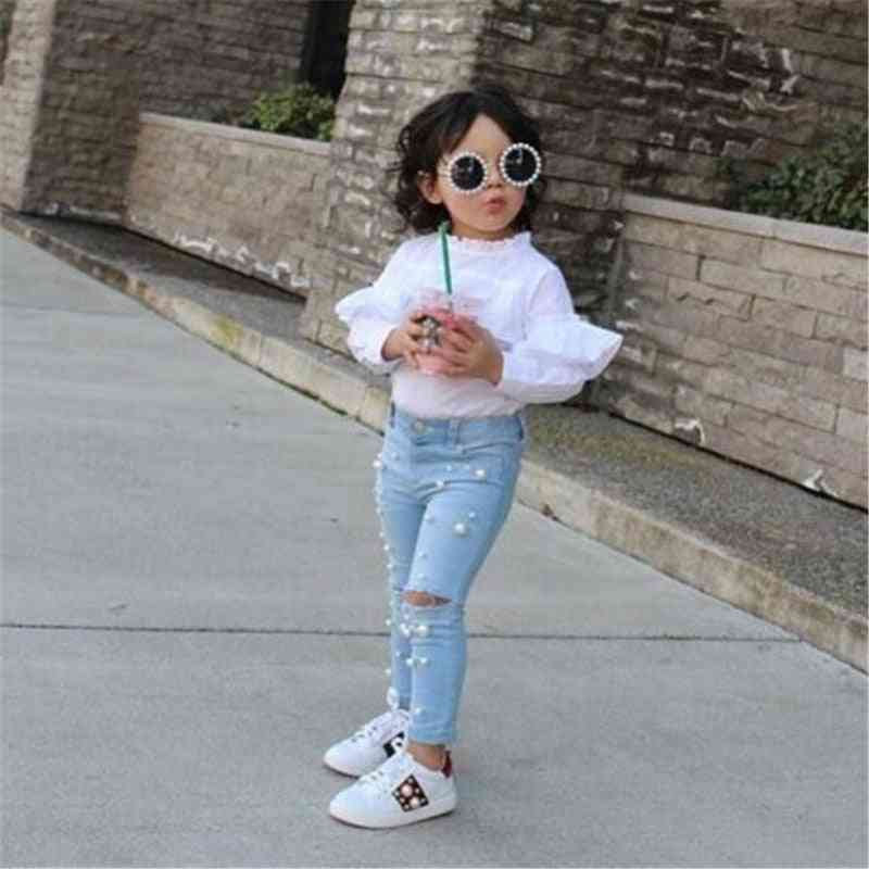 Girl Summer Casual Jeans Shredded Hole Denim Pants, Elastic Trousers Baby Infant Clothing