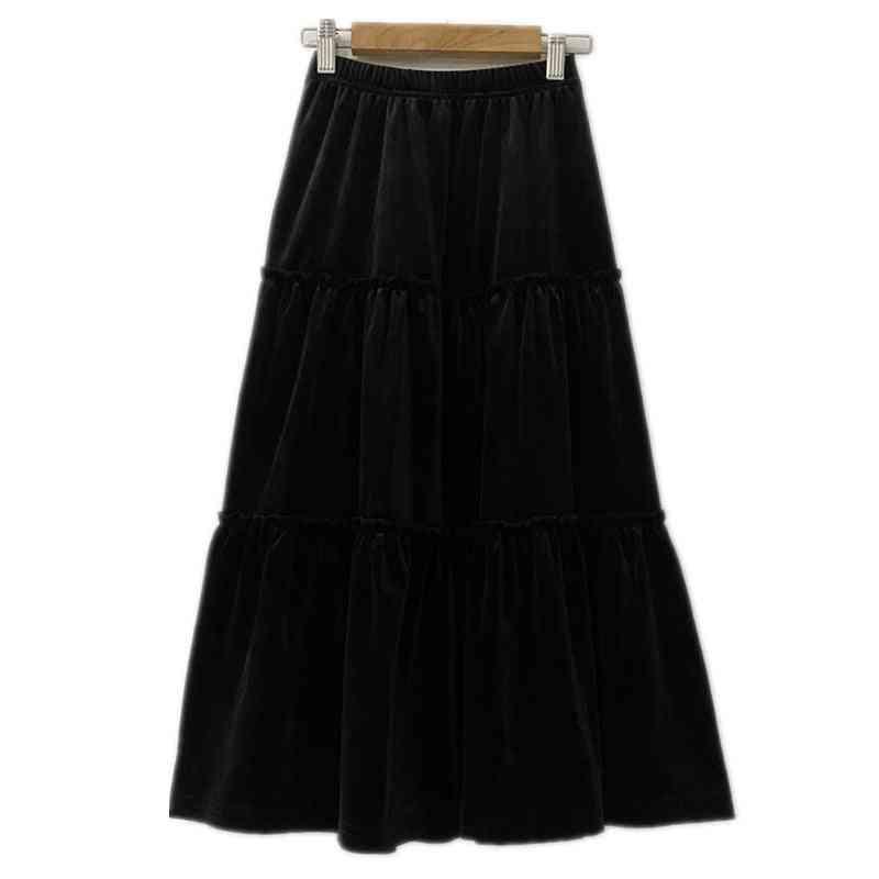 Girls Velvet Flare Maxi Long Skirts, Fall Winter Casual Velour Ruffle