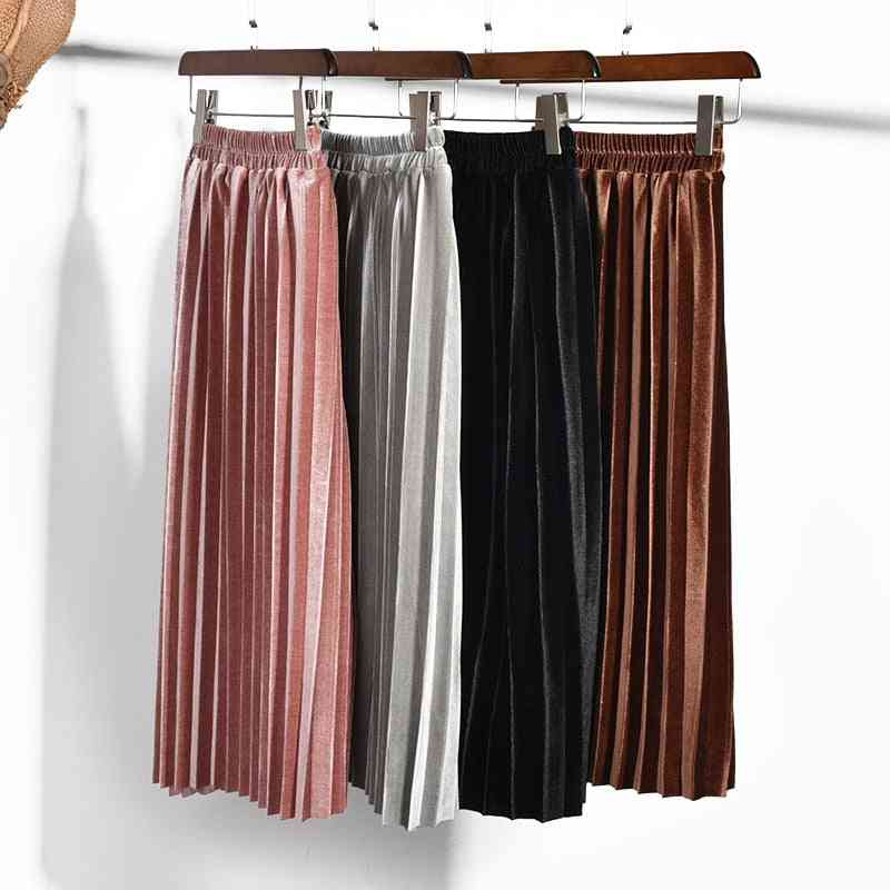 Autumn & Winter Pleated Smooth, Baby Long Skirts