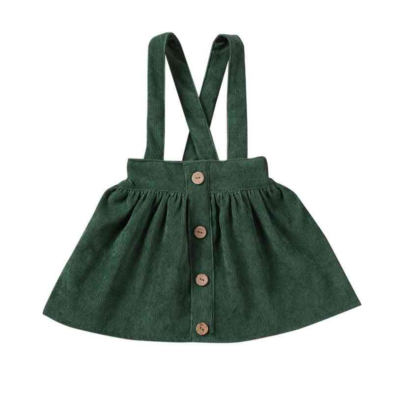 Tutu Suspender Skirt, Infant Baby Girl Ruffle Corduroy Solid Summer Fall Button Bowknot Sundress Clothes