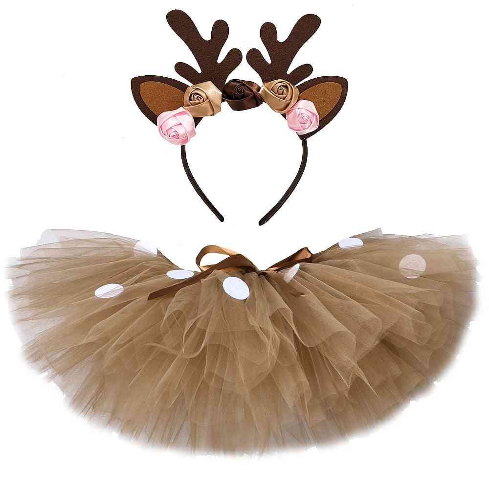 Fluffy Brown Deer, Girl Tutu Skirt Clothes