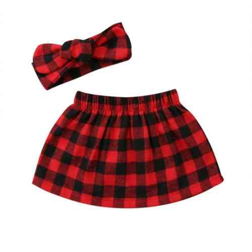 Sweet Baby Girl Plaid Skirts & Headband, Cotton Outfit Clothes