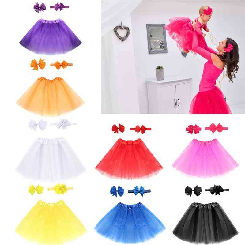 Baby Tulle Tutu Skirt, Infant Newborn Diapers Cover Short, Hair Clip & Headband Photography Props