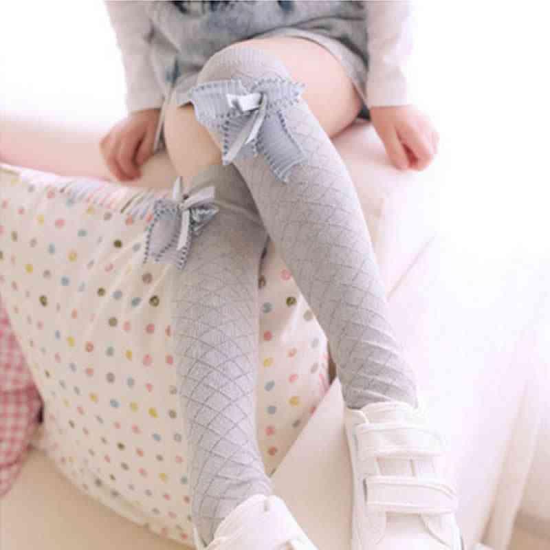 Girls Knee High Leg Warmers, Princess Bow Mesh Summer Anti-mosquito Tube