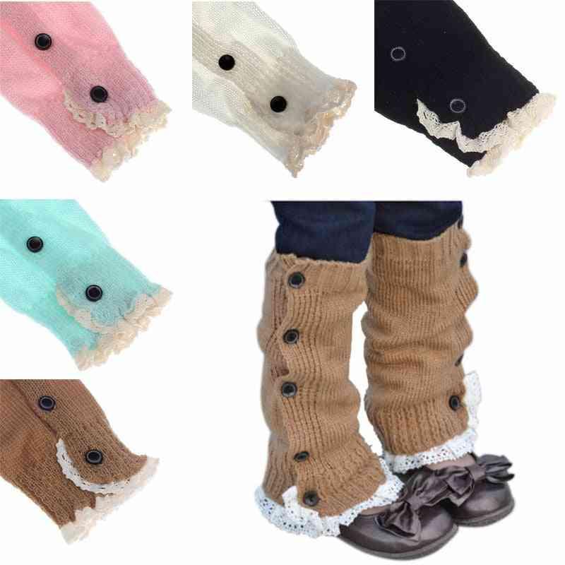 Girl Leg Warmers, Crochet Knitted Lace Boot Cuffs