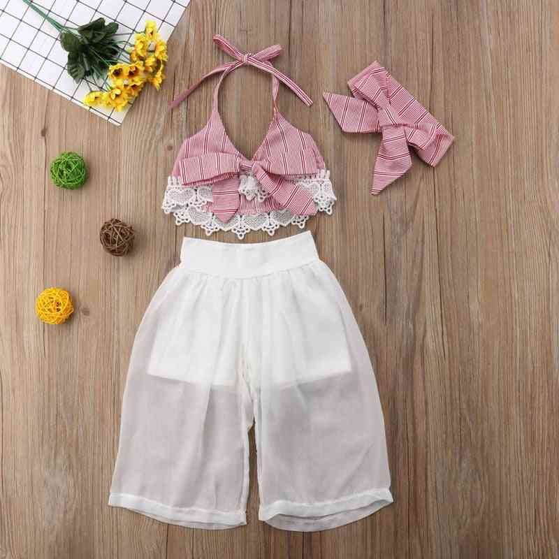 Girls Clothes Set, Baby Summer Sleeveless Lace Bow Crop V-neck Tops, Pants & Headbands