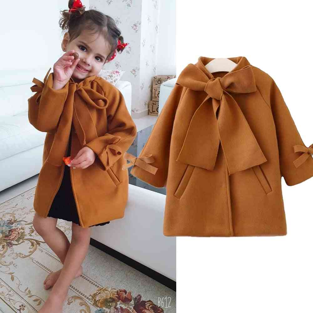 Cute Baby Overcoat, Woolen Bowknot Single Breasted Coat, Outerwear Winter Warm Clothes Snowsuit