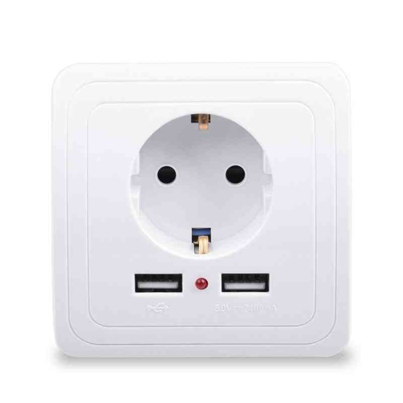 Dual Usb Port 2400ma Wall Charger Adapter, 16a Eu Standard Electrical Plug Socket Power Outlet Panel