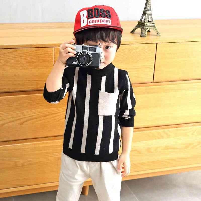 Children's Toddler Sweater With Chest Pocket, Stripes Design
