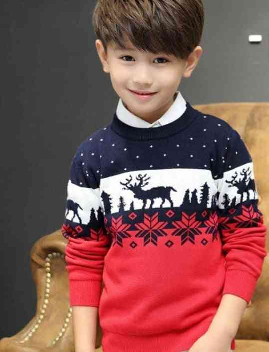 Elk Print, Long Sleeve, Double Thicken Cotton Sweaters For