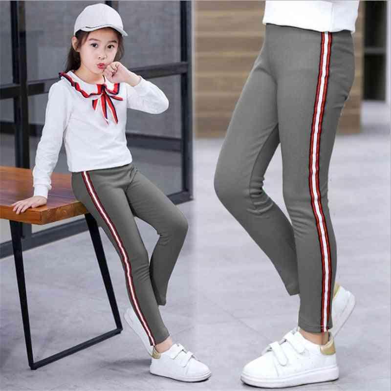 Spring, Autumn, Kids Leggings, Side Striped, Elasticity Pants Trousers