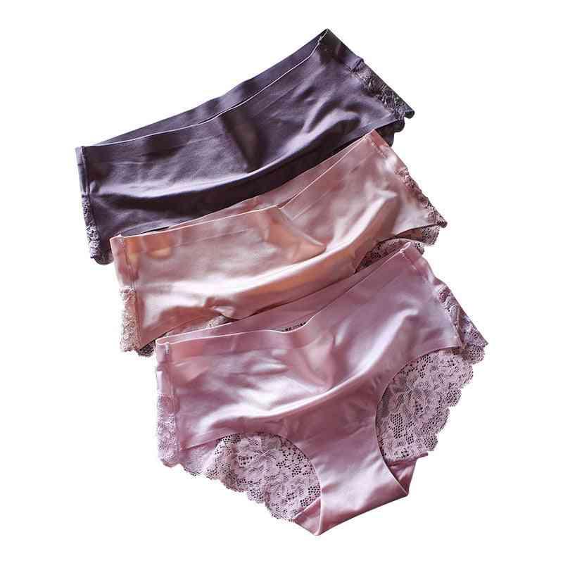 Women Solid Silk Underwear, Large Size Lady Mid-waist Underpants