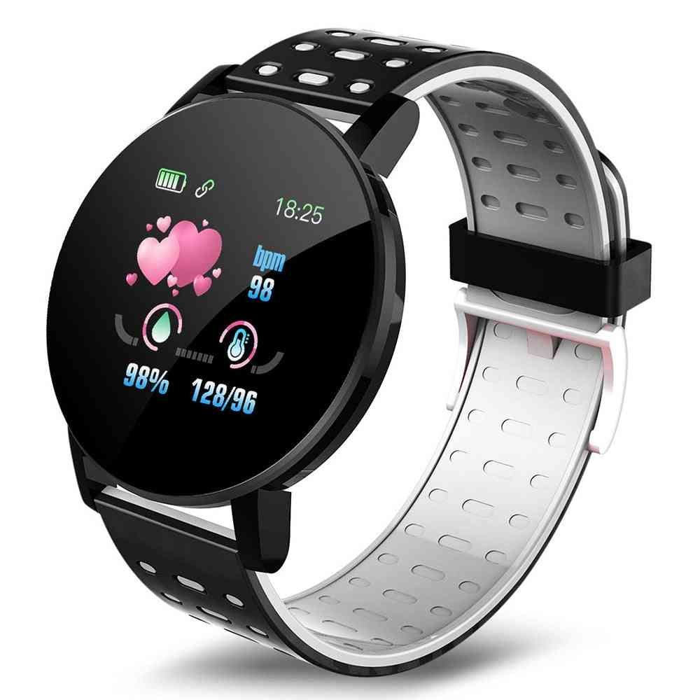 Blood Pressure Sport Heart Rate Fiteness Tracker Bracelet For Android Ios Smart Watch Round