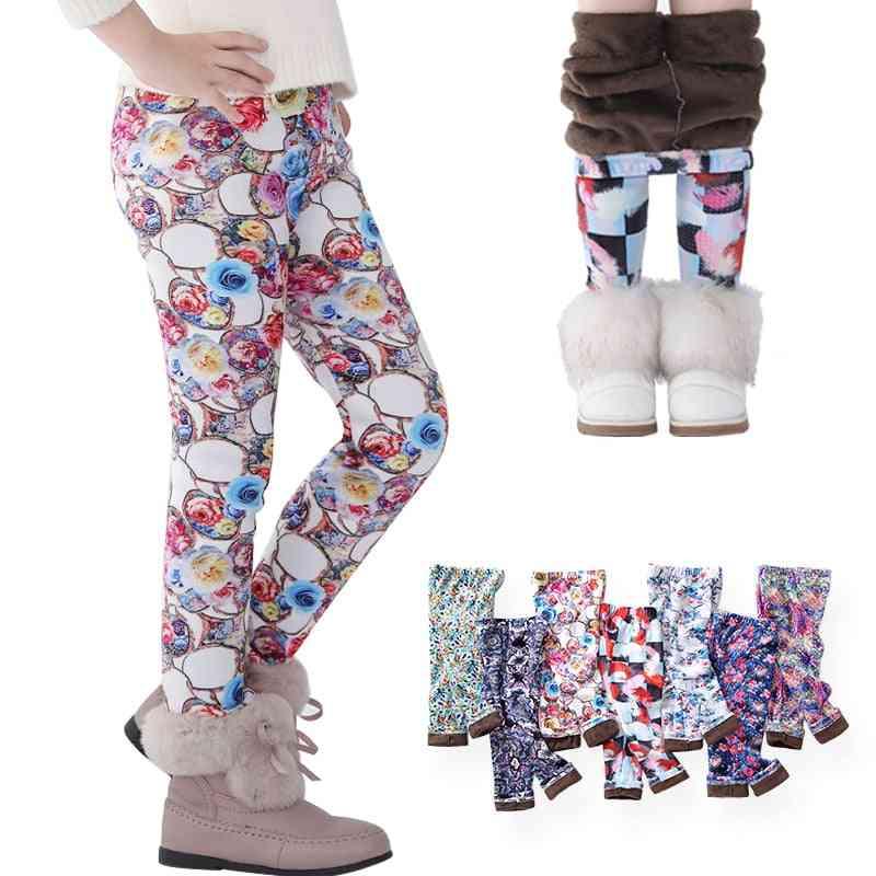 Girls Leggings, Toddler & Kids Thick Warm Print Flower Pants