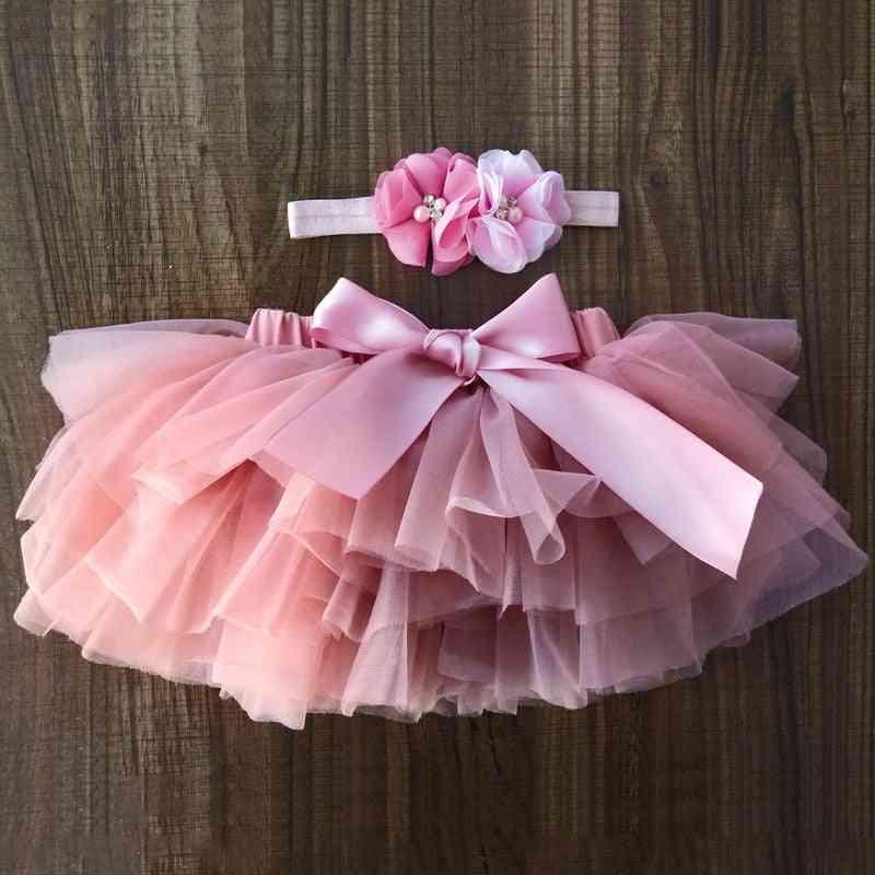 Newborn Baby Tulle Bloomers Tutu Diapers Cover Short Skirts & Headband Set