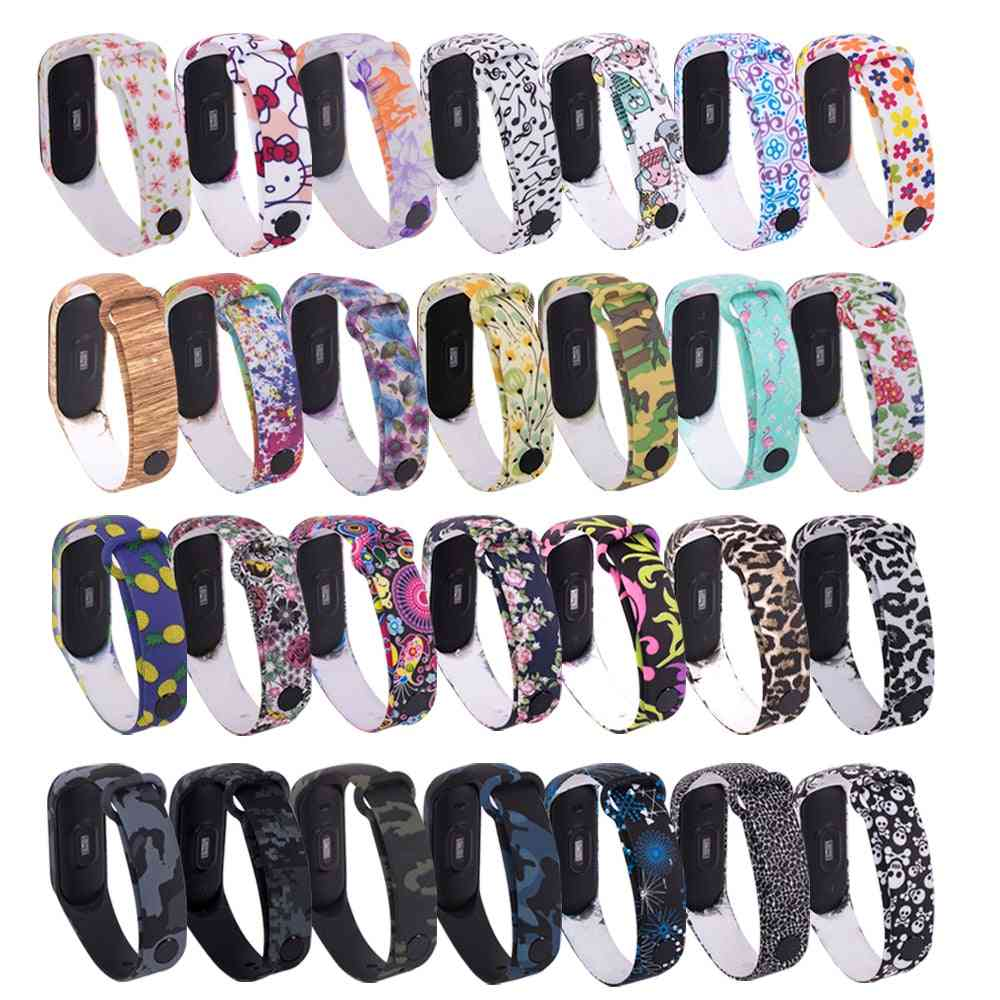 Universal Silicone, Colorful Flowers Strap, Replacement Bracelet For Mi Band