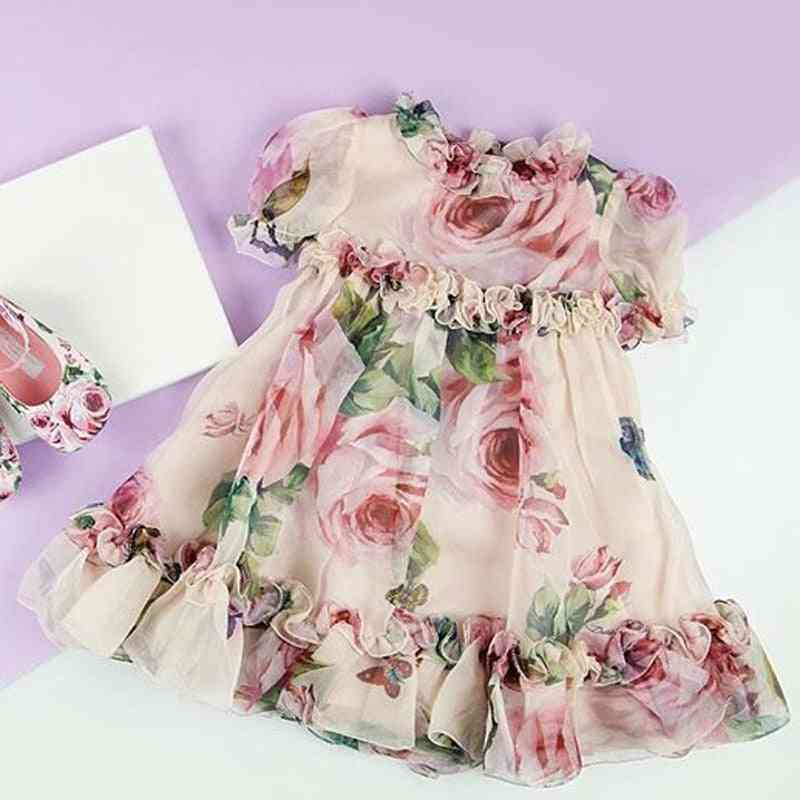 New Princess Girl Floral Tulle Dress, Wedding Party Clothes