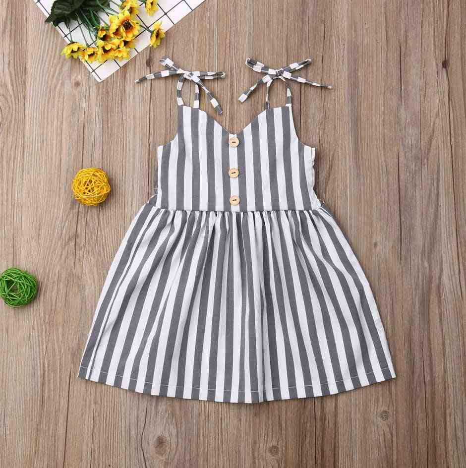 Sleeveless, Striped Design Strap Summer Dress For Baby