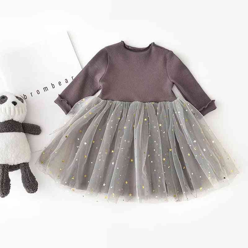 Winter Kids Casual Dresses, Long Sleeve, Sequins Stars For