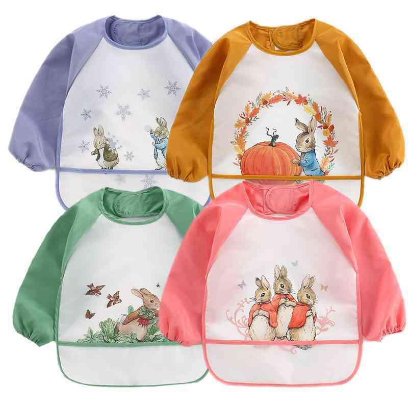 Cute Baby Baberos, Waterproof, Long Sleeve Print Apron Bibs