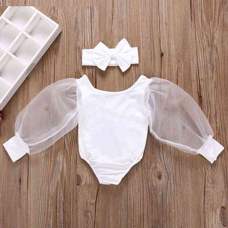 Kids Bodysuits Lace Puff Long Sleeve Solid Jumpsuits Spring Princess Tops For Baby
