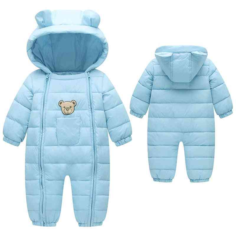 Baby Girl Boy Spring Winter Warm Hooded, Overalls Snowsuit
