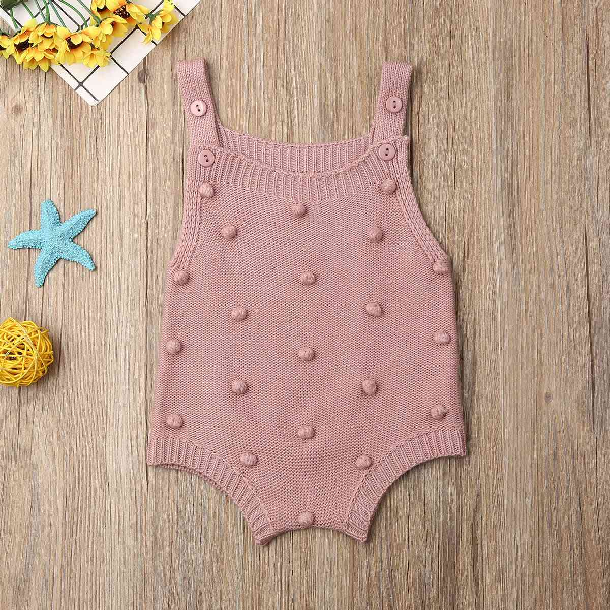Newborn Baby Knit Dots Jumpsuit - Solid Bodysuit Cotton Sleeveless Outfit