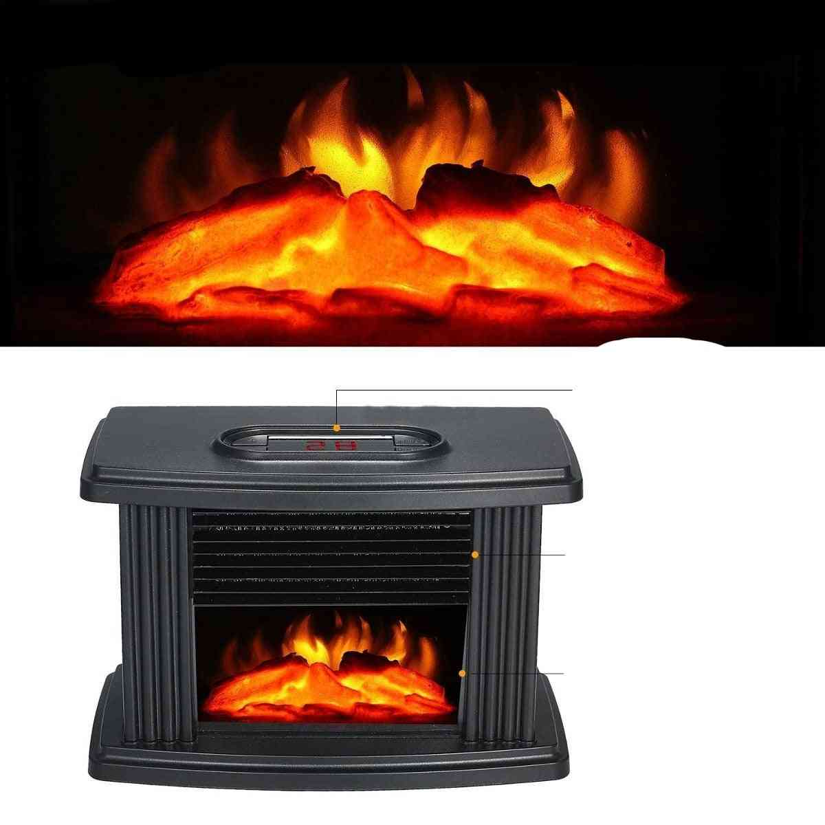 Portable Electric Fireplace Stove Heater Tabletop Indoor Space, 1000w Household Winter Heating Machine