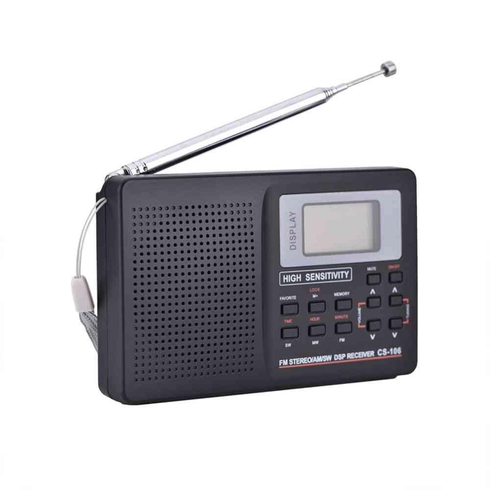 Portable Full Frequency Receiver Alarm Clock Radio