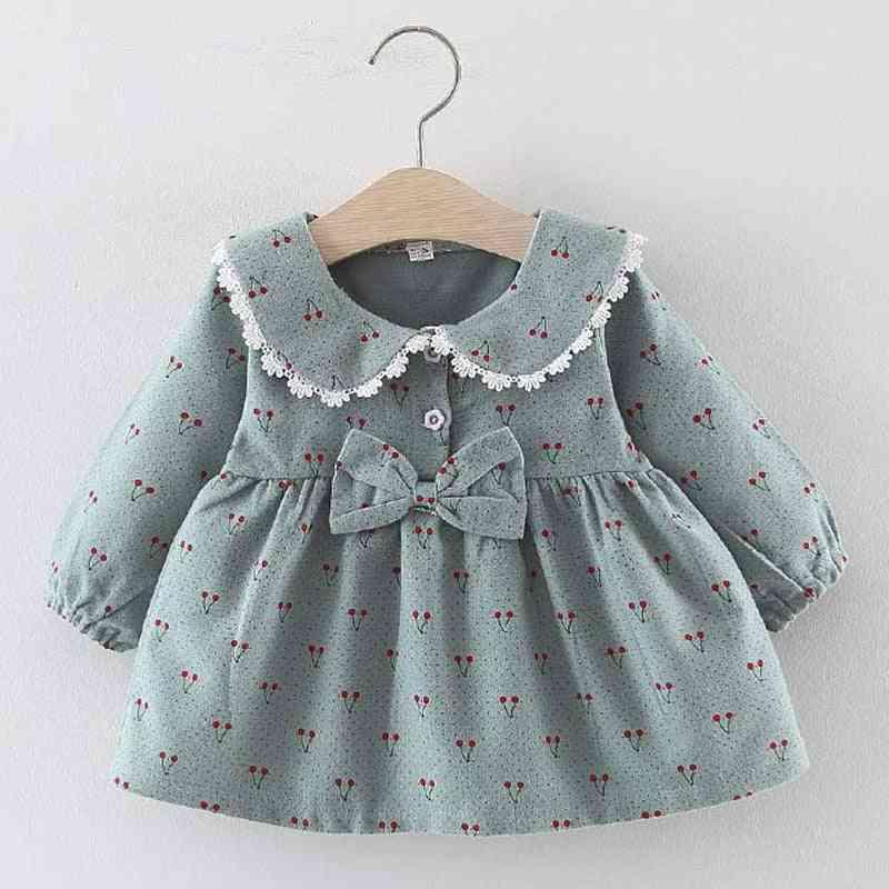 Newborn Baby Winter Dress Christmas Floral Cherry Dot Cotton Bow Dress Set Outfits