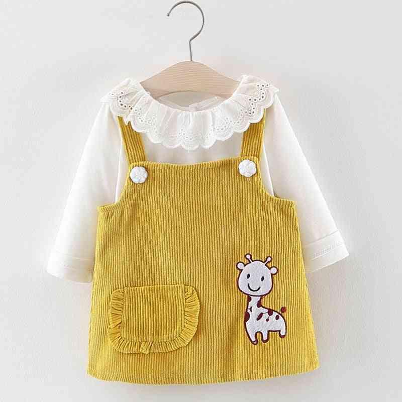 Baby Girl Autumn Princess Clothes, Cute Long Sleeve T-shirt Tops, Cartoon Giraffe Dress Suit