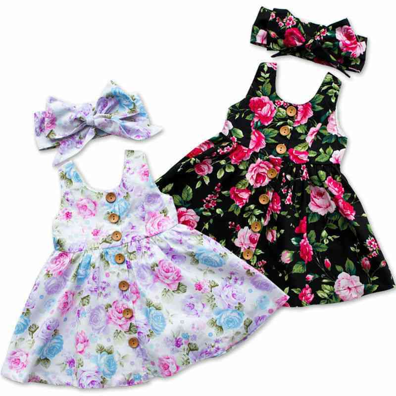 Baby Summer Floral Princess Sleeveless Dresses & Headband