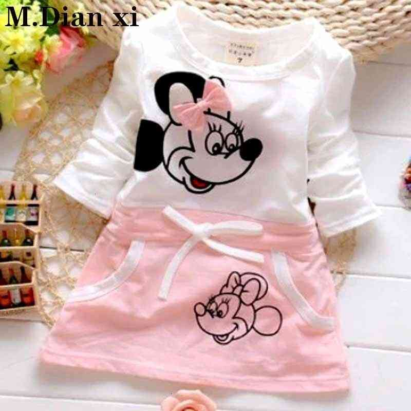 Baby Gril Cotton Long Sleeve Cute Minnie Stitching Dress