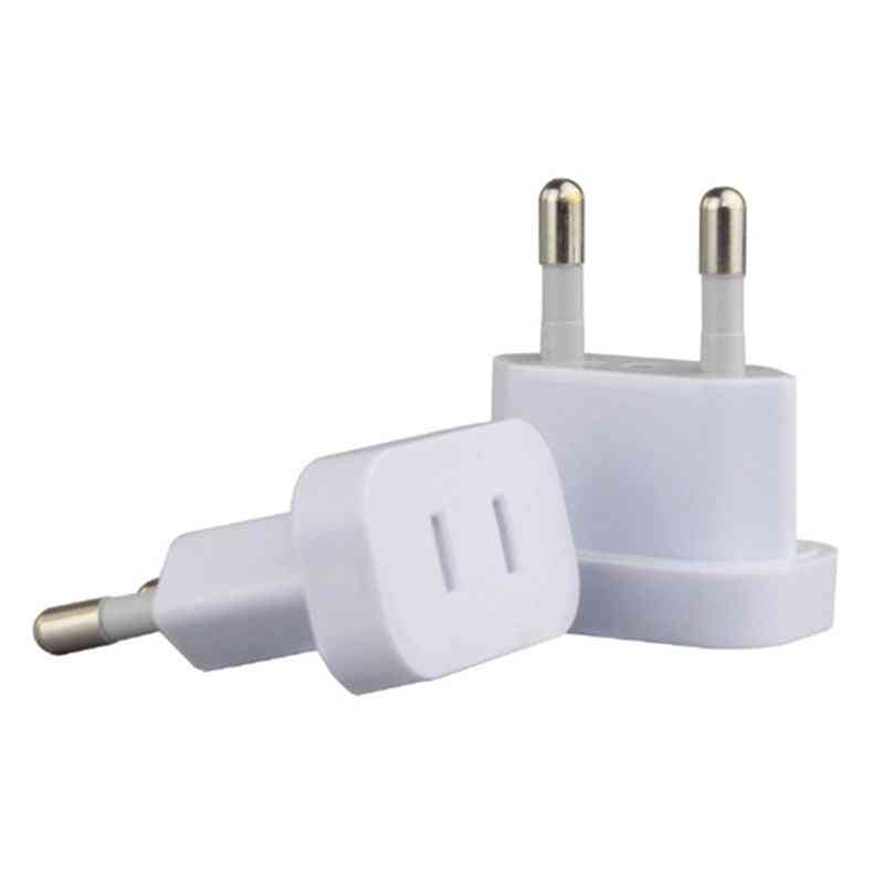 Us To Eu Euro Europe Plug Adapter ,2 Round Socket Converter- Travel Electrical Power Adapter