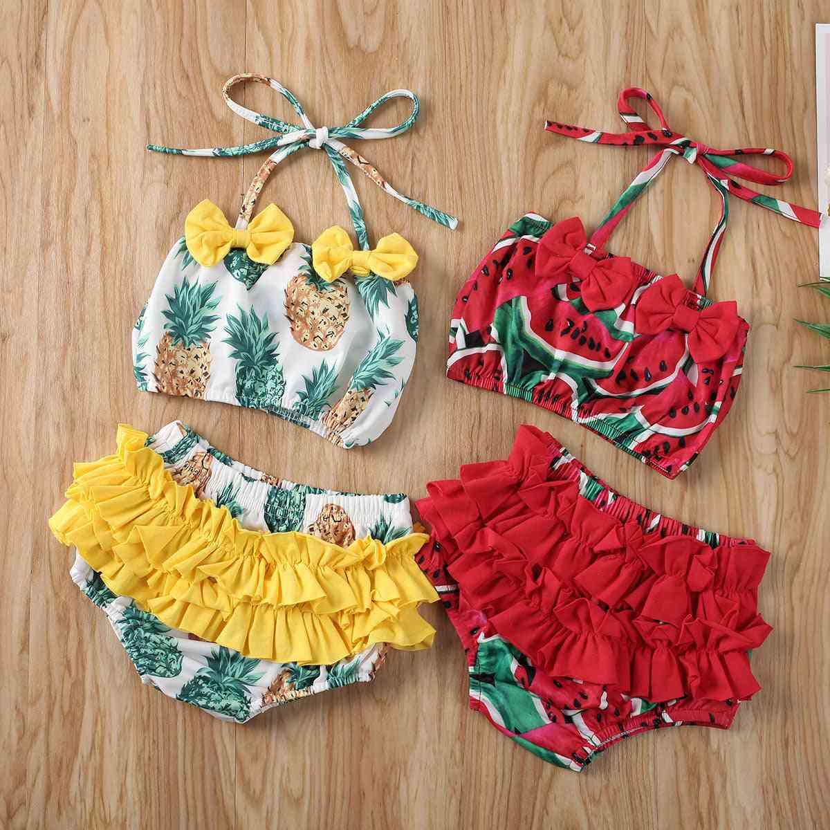 Baby Girl Summer Pineapple & Watermelon Print Swimwear Bikini Set, Ruffle Bowknot Swimsuit